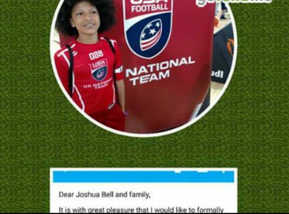 Joshua's USA FOOTBALL TEAM.