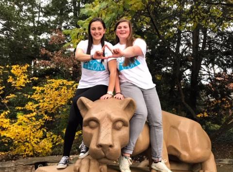 dance-a-thon fundraising - Ashlee Bacvinskas and Hannah  THON 2019