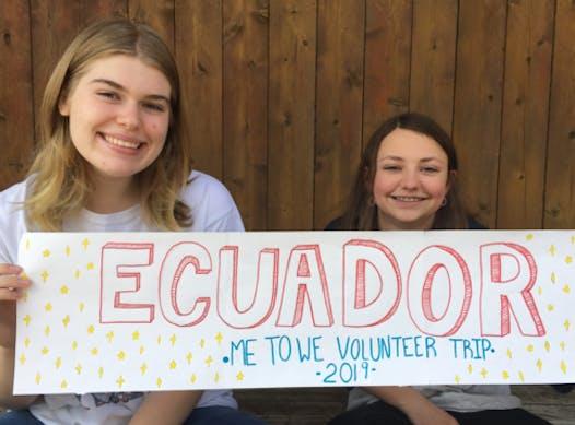 volunteering trip fundraising - ME to WE Ecuador 2019