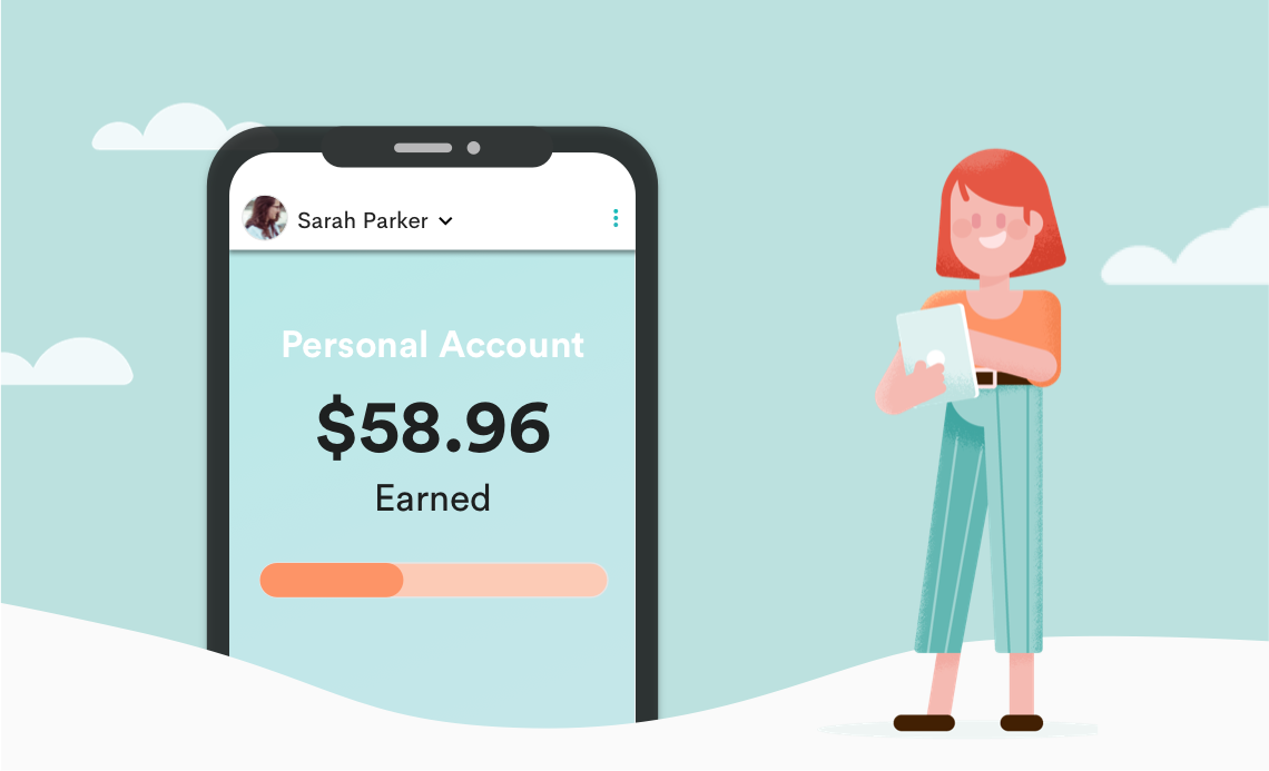design image of organized FlipGive mom with $58.96 saved in her personal account.