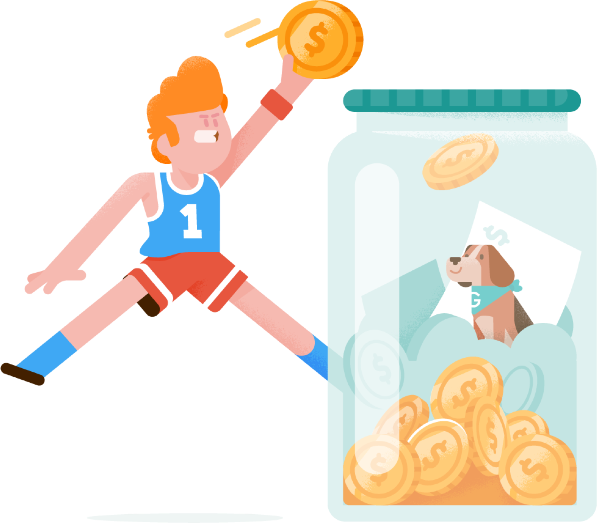 Design of determined basketball player to dunk a FlipGive coin into a savings jar with the FlipGive Dog, Max.