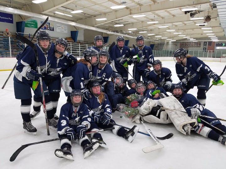 The Badger Lightening Girls High School Hockey Team receives the 2017 Get In The GameHockey Grant